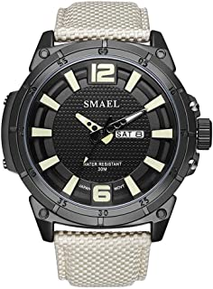 Men's Sports Analog Quartz Watch,Dual Display Waterproof Digital Watches with LED Backlight relogio Masculino El Movimiento de Los relojes- Coffee