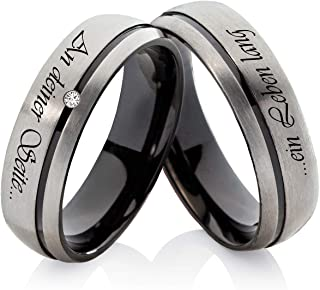 Frencheis H137 Titanium Wedding Rings Engagement Rings Titanium with Cubic Zirconia and Personal Laser Engraving