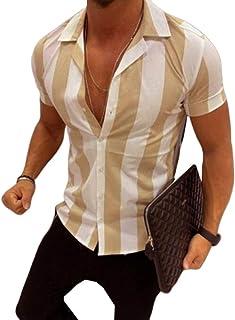 Loyomobak Men Classic Button Up Striped Contrast Color Cotton Dress Shirts
