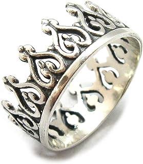 Anello in argento solido 925 Corona R001927 Empressjewelle35