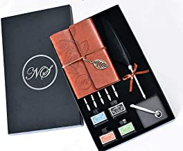 Nostalgic Solutions Calligraphy Handwriting Set, Feather Quill Dip Pen, 5 additional Calligraphy Nibs,4 Inks(15ml black, 15ml red, 15ml blue and 15ml green) Ringbinder Notebook, Calligraphy Pen Holder