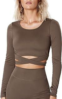 Women Long Sleeve Crop Top Sports Top