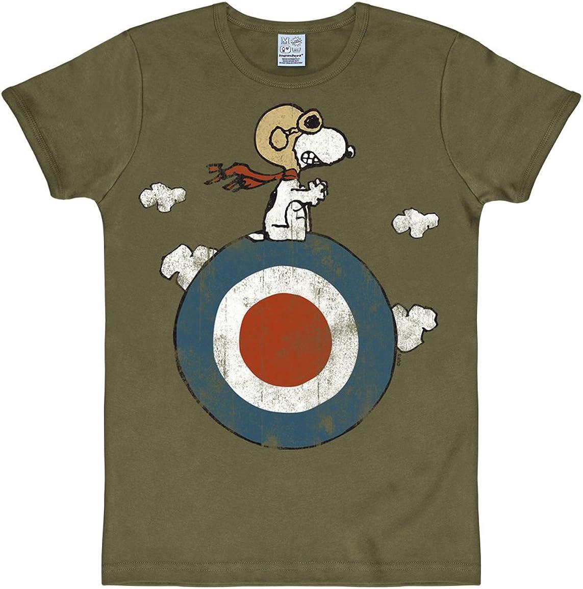 Logoshirt/®️ Peanuts Snoopy Pilot T-Shirt Unisex I Motiv-Shirt gr/ün kurz/ärmlig Rundhalskragen I Lizenziertes Originaldesign I Grafikshirt hochwertiger Logo-Print I Baumwolle I Vintage T-Shirt