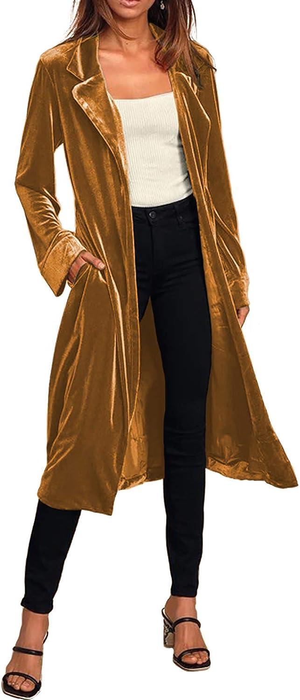 Women Casual Lapel Max 80% OFF Outwear Velvet Cardigan Draped Open Fr Overseas parallel import regular item Duster