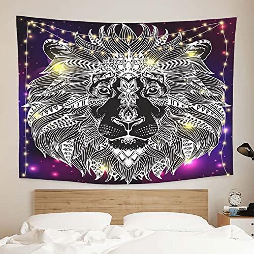 onetoze Löwe Nebel Wandteppich Wandbehang Wandtuch Tapisserie Wanddeko Wandkunst Dekoration für Schlafzimmer Wohnzimmer Wohnheim Zimmer Tagesdecke, 130x150cm