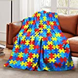 Lightweight Fleece Throw Blanket Opaque Colourful Puzzle Piece Autism Awareness Bed Couch Blanket for Women Men Adults Kids Sofa Flannel Blanket for Travel Camping Beachh Home Living Room 60'x 80'