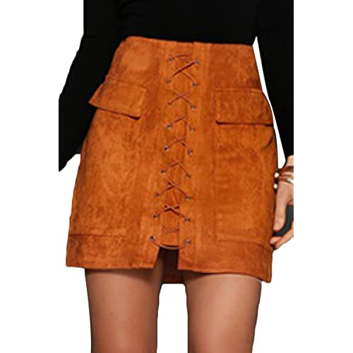 67050a2dd7730b Prograce Women's Vintage Lace Up High Waist Bodycon Faux Suede Mini Skirt