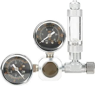 Regulador de CO2 para acuarios Medidor de presión de CO2 de Dos Tanques de Peces Presión Ajustable Sistema de CO2 para Plantas acuáticas con Contador de Burbujas y válvula de retención(W21.8)