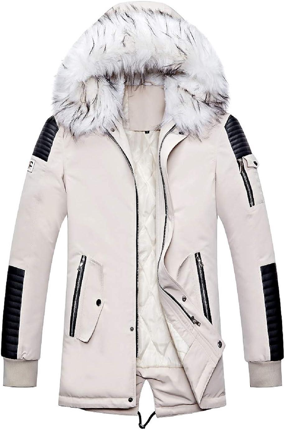 CHARTOU Men's Winter Detachable Faux Fur Hooded Spliced Midi Down Alternative Parka