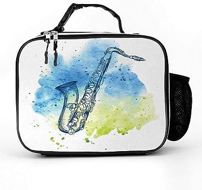 Bolsa de almuerzo caliente y fría para adultos, estudiantes, hombres y mujeres, bolso de mano para exteriores, escuela, oficina, Acuarela Estilo de Boceto Imagen de Saxofón Instrumento Ilustración Retro Diseño, Una talla