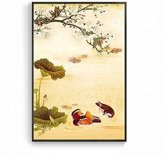 YIYAOFBH Wall Art Canvas Oil Painting Wash Painting Abstract Poster Lotus Mountain Living Room Decor Kitchen Artwork Framework 60x80cm Mandarin Duck