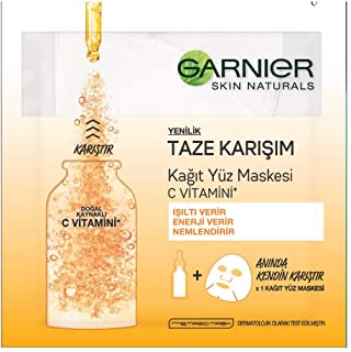 Garnier Skin Naturals Taze Karışım C Vitamini Kağıt Yüz Maskesi 1 Paket (1 x 33 g)