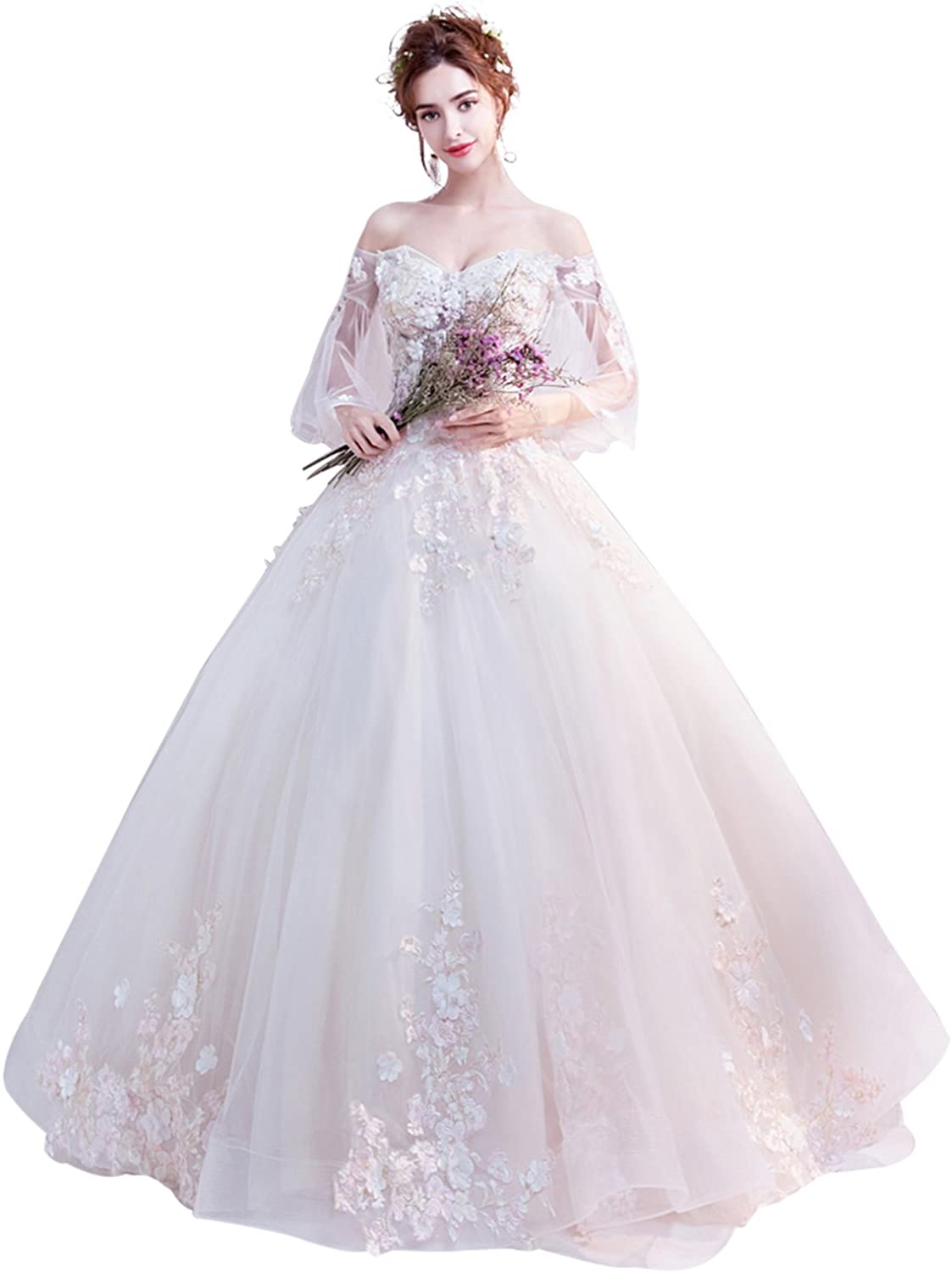 Epinkbridal Off Shoulder Ball Gown Wedding Dress with Sleeves Princess Sweet 15 Dresses Gowns