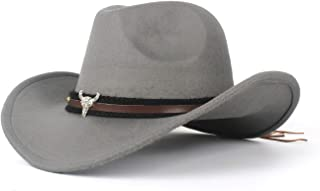 TX GIRL Cowboy Hat Ladies Wool Felt Western Cowboy Hat Jazz for Cowgirl with Bull Head Leather Novelty Party Costumes (Color : Gray, Size : 56-59cm)