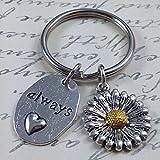 Sunflower keychain, heart keychain, quote keychain, flower keychain, love keychain, sister keychain, friend keychain, mom keychain, daughter