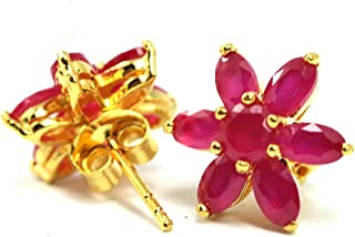 Beautiful Ruby color CZ Flower Stud Earrings 18k Gold-plated Thai Style Jewelry