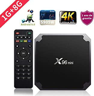 SUNNZO X96mini Android 9.0 TV Box con procesador Amlogic S905W Quad Core de 64 bits 1GB RAM+8GB ROM,WiFi,4K HD,H.265 (1+8GB)