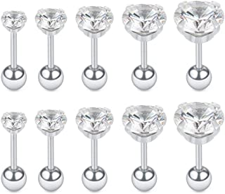 5 Pairs 16G Stainless Steel Cubic Zirconia Cartilage Tragus Helix Barbell Stud Earrings Piercing Jewelry 4-8mm