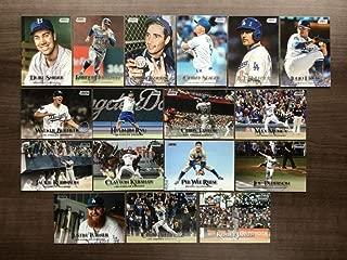 2019 Topps Stadium Club Baseball Los Angeles Dodgers Team Set of 17 Cards: A.J. Pollock(#41), Jackie Robinson(#70), Max Muncy(#101), Enrique Hernandez(#103), Justin Turner(#114), Walker Buehler(#116), Kenley Jansen(#143), Cody Bellinger(#146), Julio Urias(#147), Joc Pederson(#158), Clayton Kershaw(#161), Corey Seager(#175), Sandy Koufax(#192), Hyun-Jin Ryu(#195), Chris Taylor(#200), Pee Wee Reese(#231), Duke Snider(#250)