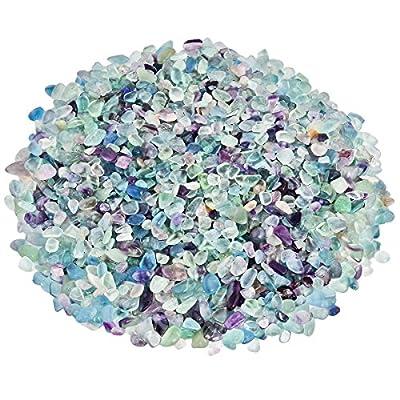 SUNYIK Tumbled Chips Stone Crushed Crystal Quartz Pieces Irregular Shaped Stones 1pound(About 460 Gram)