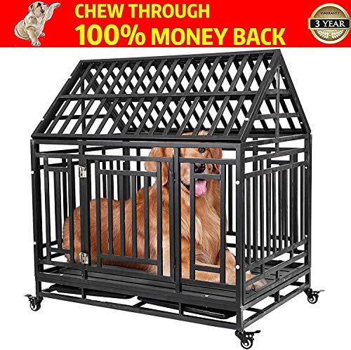 DYAO Heavy Duty Dog Crate Cage Kennel for Large Dogs, Metal Pet Playpen with Double Doors, Lockable Wheels and Trays, 42'' Roof Black Kennels launched Newly pets