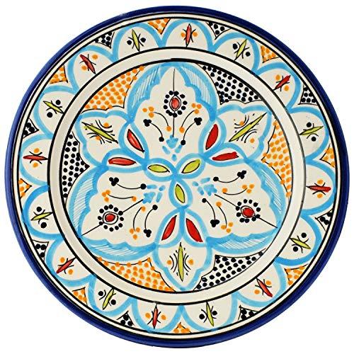 Orientalische Keramikschale Keramikteller Achraf Blau 26cm Groß | farbige marokkanische Keramik Schale Teller rund aus Marokko | Orient große Keramikschalen flach Geschirr orientalisch handbemalt