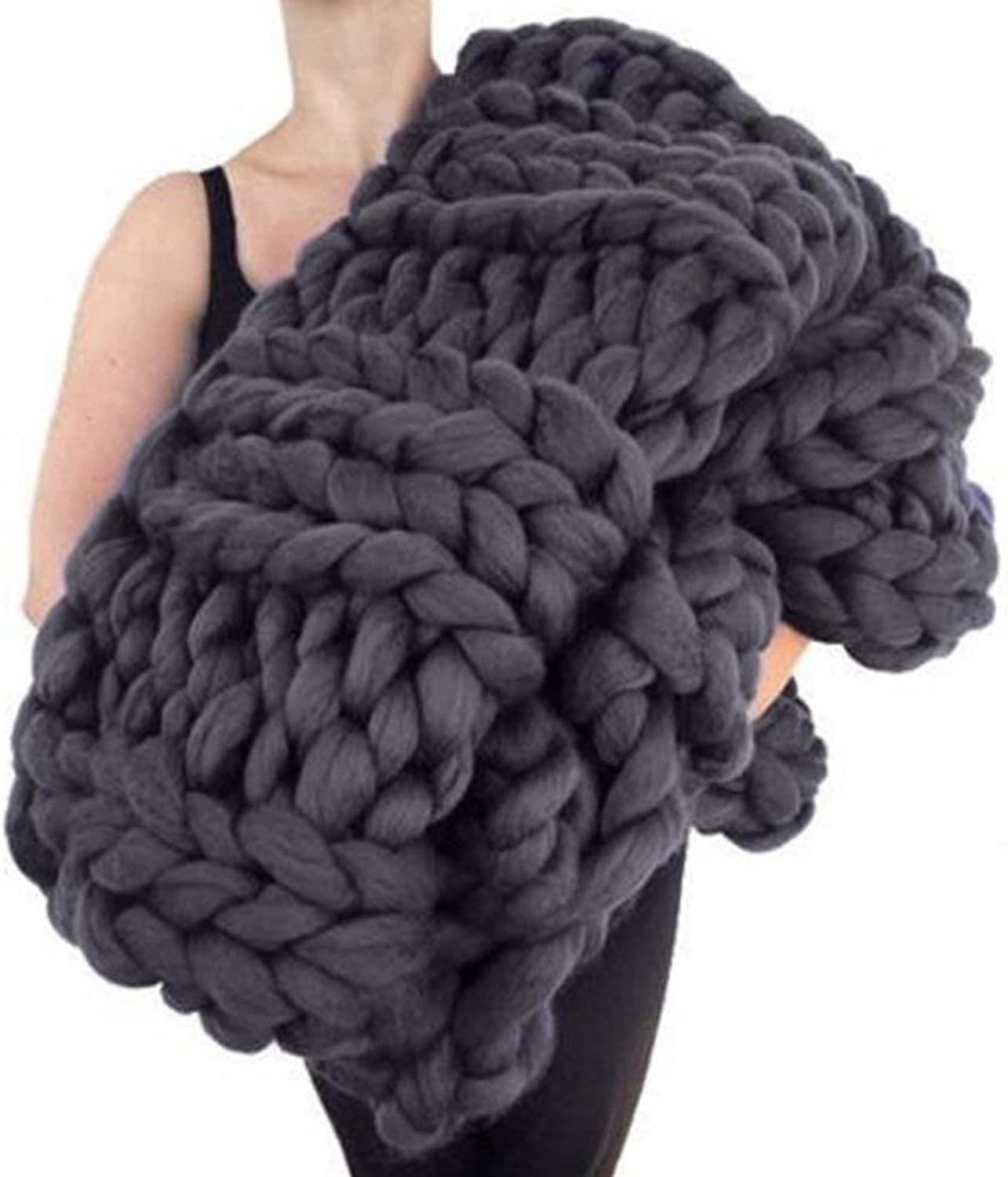 Chunky Knit Max 65% OFF Throw Blanket Beautiful Polyester Decor Genuine Fi Home Soft