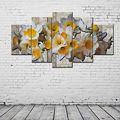 HQATPR 5 stuks set voor schilderen van parfum Narcissus Hd Canvas Prints Artwork Paintings Decoratieve Painting Hotel Aisle Five Pieces Collage Painting