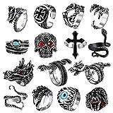 Jstyle 9-15Pcs Vintage Punk Rings for Men Women Snake Ring Dragon Open Rings Set Knuckle Stacking Ring Boho Finger Rings