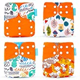 Wenosda 4PCS Baby Cloth Diaper Pocket Nappies Washable Reusable Diapers Insert All-in-One Pocket Nappy for Most Babies and Toddlers (Orange + House + Tree)