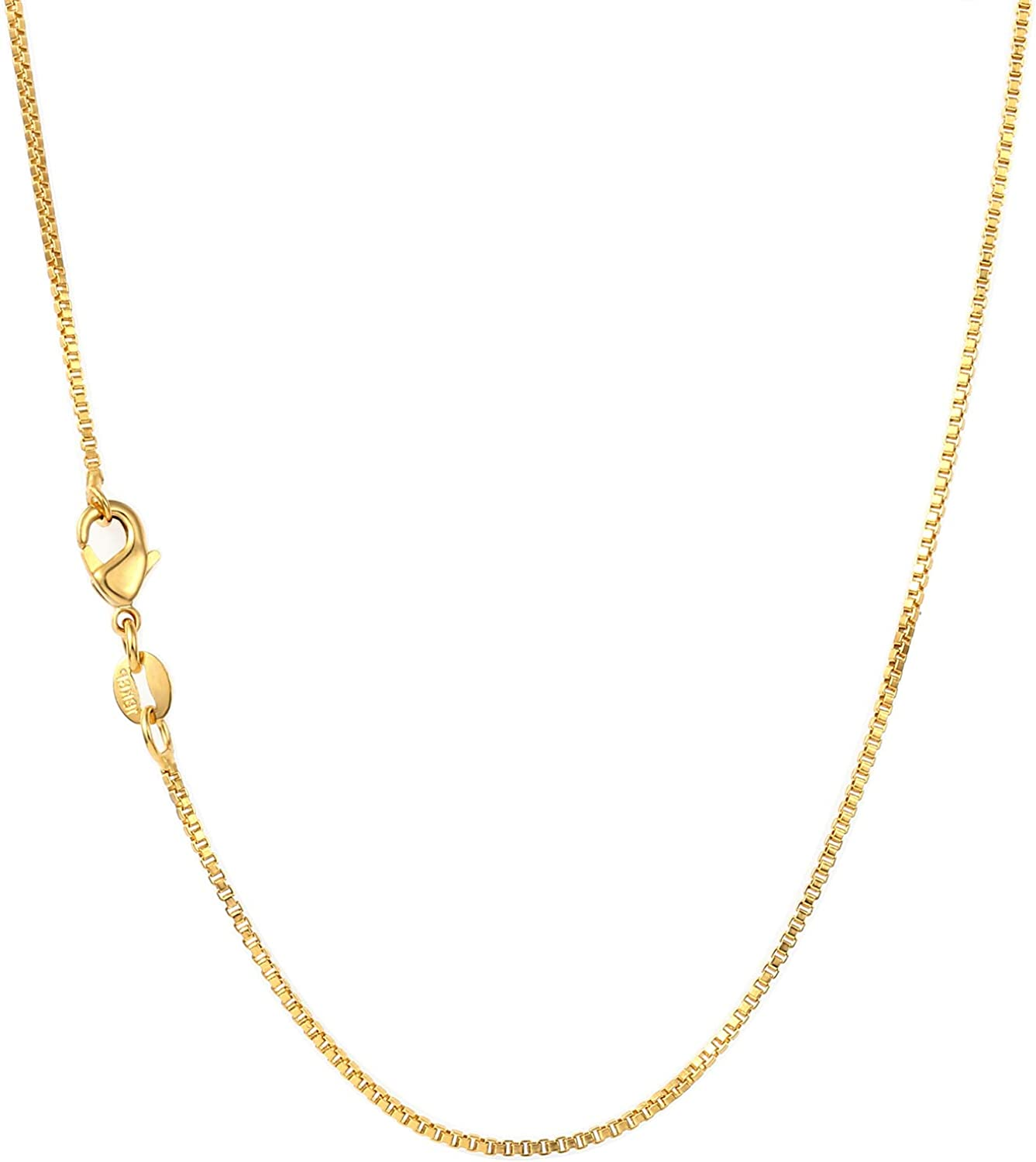18k Gold Box Chain Necklace for Women 1mm Thin Box Chain Necklace Gold Simple Gold Necklace for Girls 18.2
