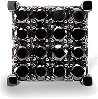 362520e4f Dazzlingrock Collection 0.87 Carat (ctw) 10k Black Round Diamond Square  Shaped Stud Earring,