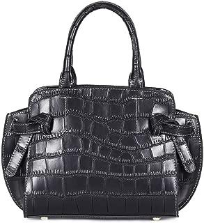 Fashion New Trend Casual Fashion Bills Shoulder Slung Large Capacity Cowhide Handbag (Color : Black)