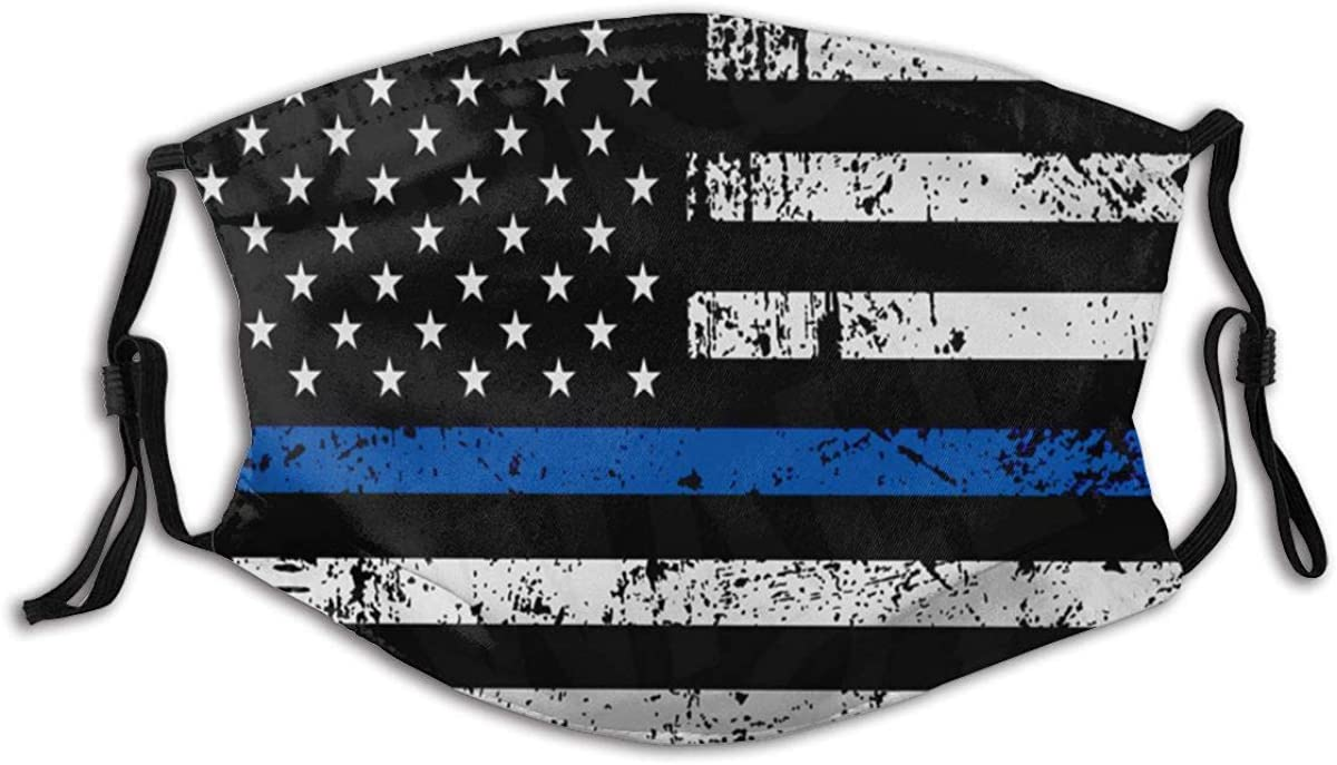 American Thin Blue Line Flag Police Face Mask Reusable Dust Mask Fashion Scarves Balaclava Washable Breathable Cloth Fabric Masks With 2 Filters