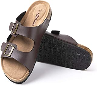 Mens Sandals Flat Slippers Summer Casual Buckle Open Toe Mules Beach Holiday Shoes Walking Black Black-White Blue Brown Kh...