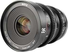 MEKE 35mm T2.2 Large Aperture Manual Focus Cinema Lens Wide Angle Low Distortion Mini Fixed cine Lens for Micro Four Third...