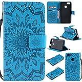 Jeewi Hülle für Huawei Y6 Pro 2017/P9 Lite Mini Hülle Handyhülle [Standfunktion] [Kartenfach] [Magnetverschluss] Tasche Etui Schutzhülle lederhülle flip case für Huawei Y6 Pro 2017 - JEKT031443 Blau