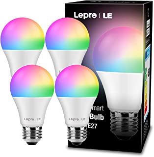 LE Alexa Lampadina LED WiFi E27, Lampadina Intelligente RGB + Bianco 2700K-6500K, 16 Millioni Colori, Dimmerabile, Smart L...