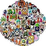 JZLMF 50 pegatinas de Dragon Ball Anime dibujos animados para maleta, coche eléctrico, teléfono móvil, ordenador, monopatín, impermeable, protección solar