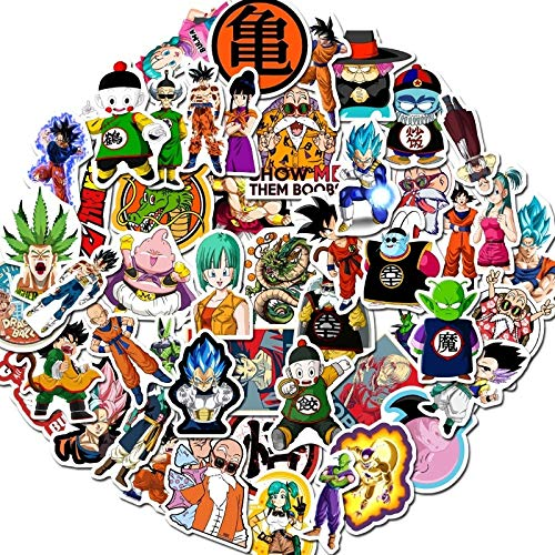 JZLMF 50 pegatinas de Dragon Ball Anime dibujos animados para maleta, coche...