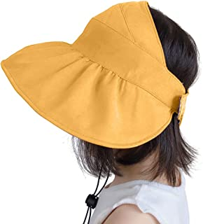 IWNTWY Kids Sun Hat with Ponytail Hole Wide Brim UV Protection Beach Bucket Cap for Girls Summer Beach Hiking
