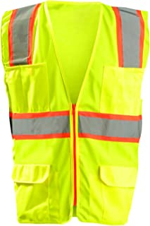 OccuNomix LUX-ATRANS-YM High Visibility Classic Solid Two-Tone Zipper Surveyor Safety Vest, Class 2, 100% ANSI Polyester Tricot, Medium, Yellow