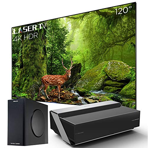 Hisense 120L10E Ultra Short Throw 4K UHD Smart HDR Home Theater Projector Laser TV with 120'' Ambient Light Rejection Screen, Harman Kardon Sound DBX-tv, Wireless subwoofer, Alexa Voice Remote