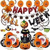 Set de decoración de fiesta de Halloween,Banner de fiesta de Halloween,Globos de látex para decoraciones de,Decoraciones de para fiesta que incluyen Globo de lámina de calabaza Accesorios para fotos