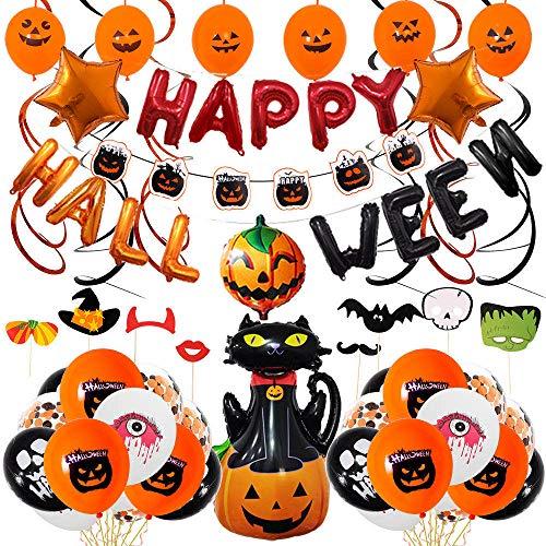 Kit di Palloncini di Halloween,Decorazione Halloween Palloncini in Lattice & Happy Halloween Banner di Palloncino Decorativo per Feste per Halloween Festival Fantasma Oggetti di Scena per Foto