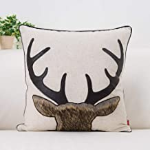 baibu Exquisite Embroidered Cushion Cover Beige Pattern Pillow Cover with Piped Edge (Deer 4)