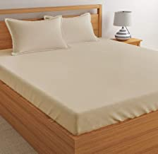 Dreamscape Bedsheets High Thread Count 300 TC Cotton Satin Bedsheet for Double Bed with 2 Pillow Cover (Cream)