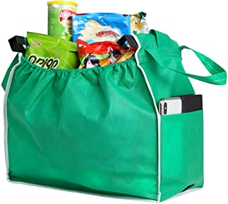 Large Reusable Tote Bags for Women - Reusable Produce Grocery Storage, Eco-Friendly Shopping Box Bag for Transporting, Moving, Storing Fruits and Veggies (Green)