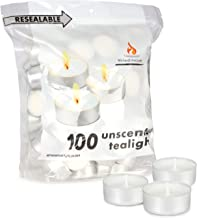 Michael Zohar Candles Unscented Tea Lights Candles | 100 Tealight Candles in A Convenient Resealable Bag | Long Burning, S...