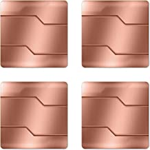 Ambesonne Industrial Coaster Set of 4, Realistic Looking Steel Surface Digital Print Plate Image Technology Inspired Design, Square Hardboard Gloss Coasters, Standard Size, Rose